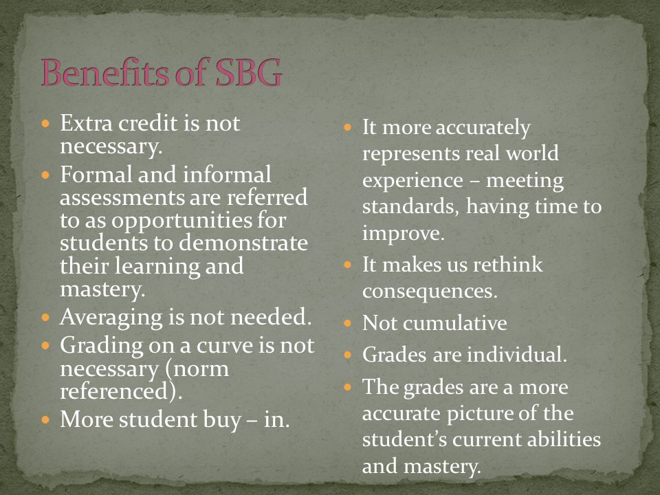 Extra credit is not necessary. Formal and informal assessments are referred to as opportunities for students to demonstrate their learning and mastery