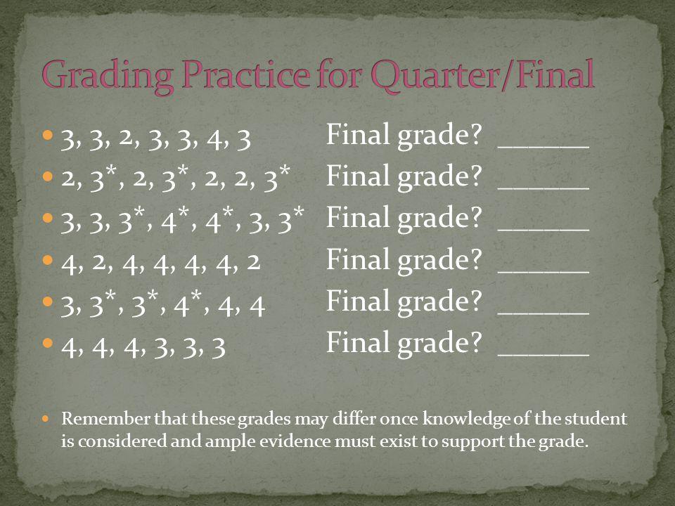 3, 3, 2, 3, 3, 4, 3 Final grade. ______ 2, 3*, 2, 3*, 2, 2, 3* Final grade.