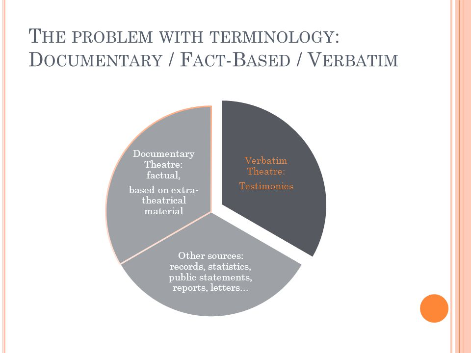 T HE PROBLEM WITH TERMINOLOGY : D OCUMENTARY / F ACT -B ASED / V ERBATIM Verbatim Theatre: Testimonies Other sources: records, statistics, public statements, reports, letters...