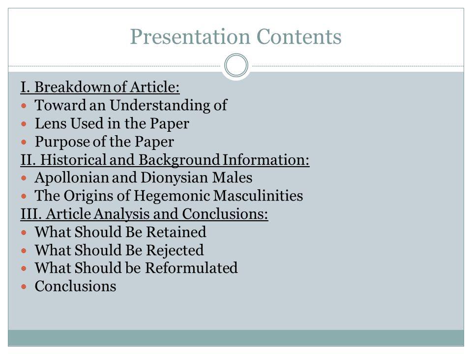 Presentation Contents I.