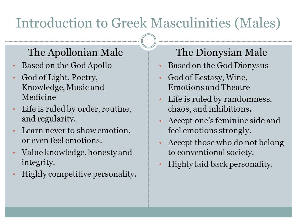Introduction to Greek Masculinities (Males) The Apollonian Male Based on the God Apollo God of Light, Poetry, Knowledge, Music and Medicine Life is ruled by order, routine, and regularity.