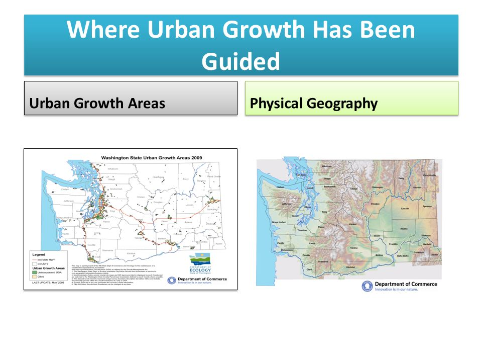 Where Urban Growth Has Been Guided Urban Growth Areas Physical Geography