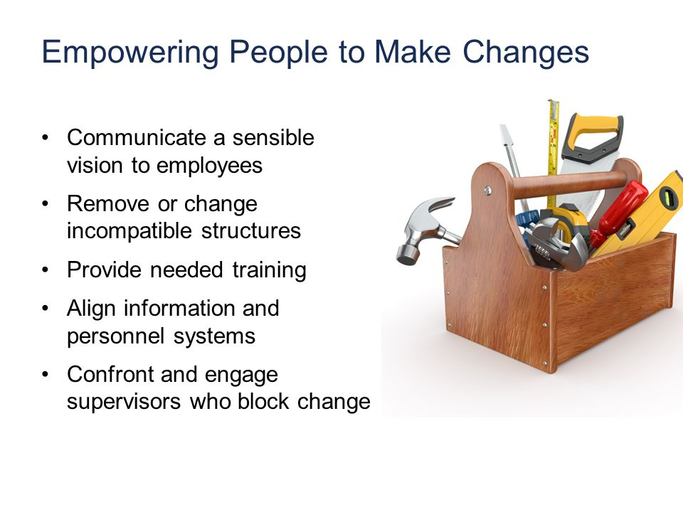 Empowering People to Make Changes Communicate a sensible vision to employees Remove or change incompatible structures Provide needed training Align information and personnel systems Confront and engage supervisors who block change