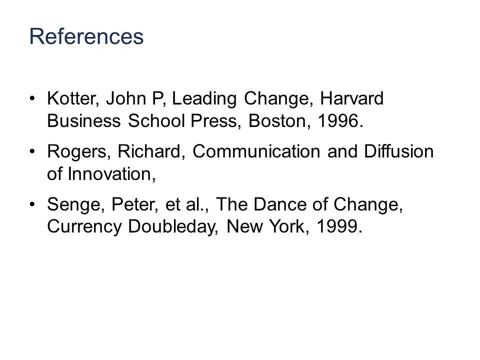 References Kotter, John P, Leading Change, Harvard Business School Press, Boston, 1996.