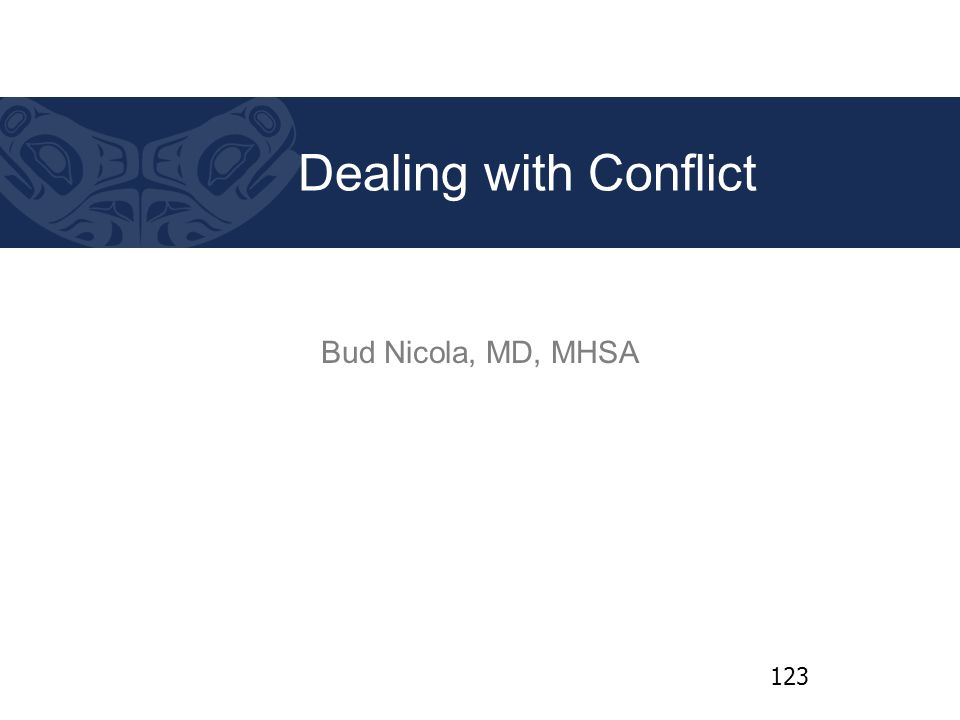 Bud Nicola, MD, MHSA Dealing with Conflict 123