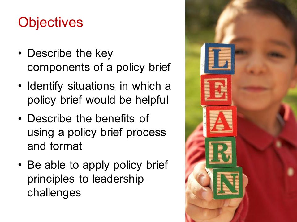 Objectives Describe the key components of a policy brief Identify situations in which a policy brief would be helpful Describe the benefits of using a policy brief process and format Be able to apply policy brief principles to leadership challenges