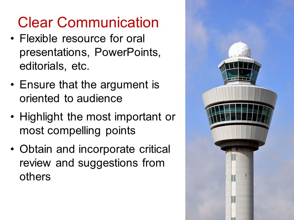 Clear Communication Flexible resource for oral presentations, PowerPoints, editorials, etc.