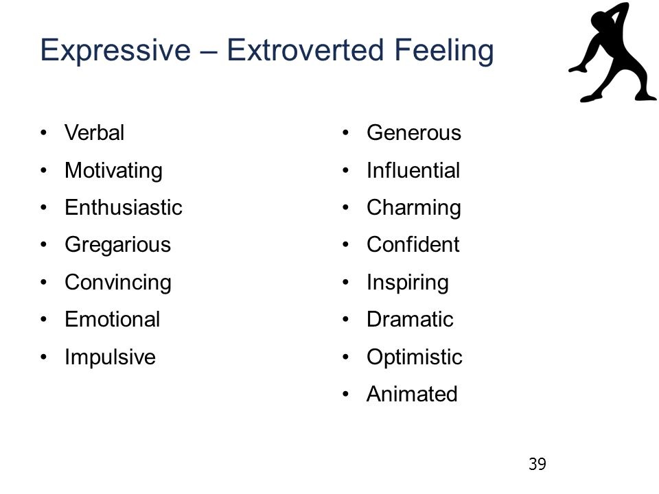 Expressive – Extroverted Feeling Verbal Motivating Enthusiastic Gregarious Convincing Emotional Impulsive Generous Influential Charming Confident Inspiring Dramatic Optimistic Animated 39