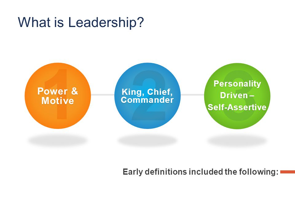 Early definitions included the following: 1 Power & Motive 2 King, Chief, Commander 3 Personality Driven – Self-Assertive What is Leadership