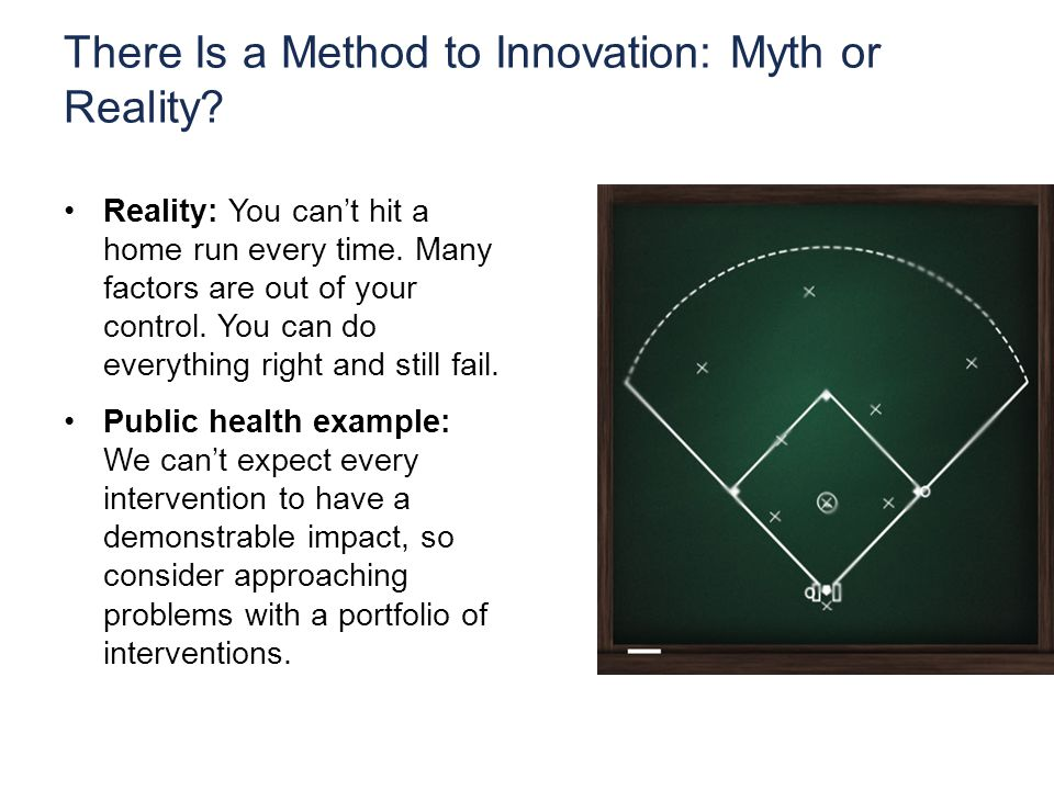 There Is a Method to Innovation: Myth or Reality. Reality: You can't hit a home run every time.