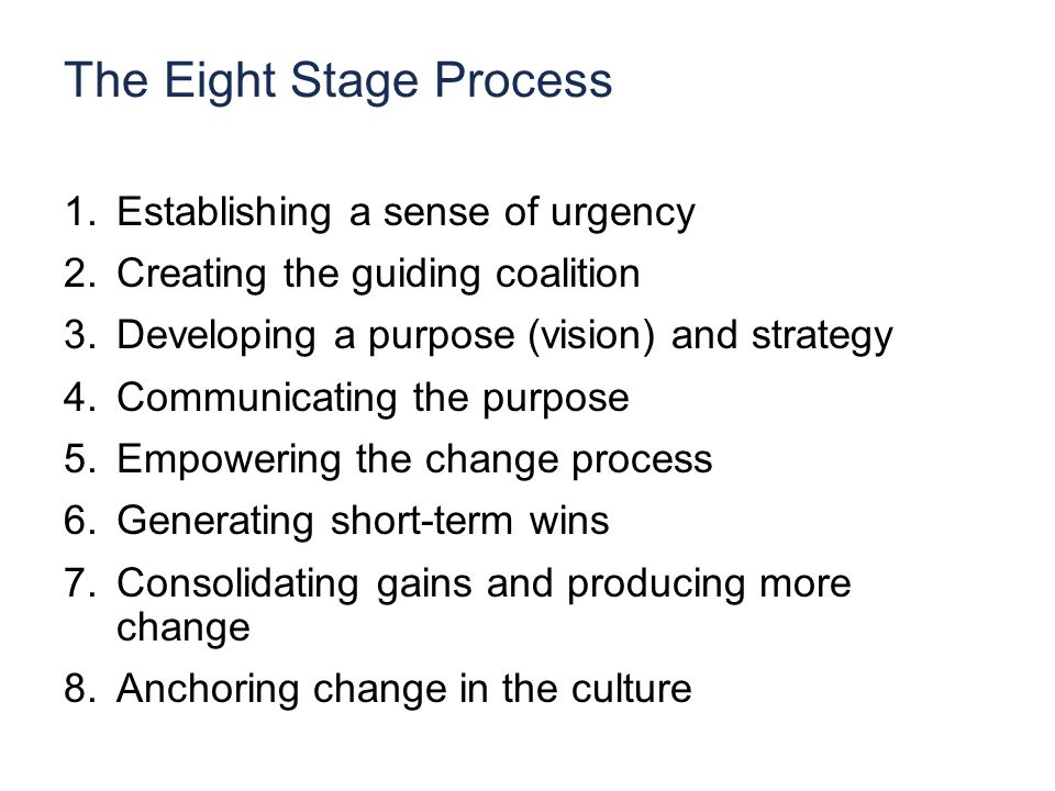 The Eight Stage Process 1.Establishing a sense of urgency 2.Creating the guiding coalition 3.Developing a purpose (vision) and strategy 4.Communicating the purpose 5.Empowering the change process 6.Generating short-term wins 7.Consolidating gains and producing more change 8.Anchoring change in the culture