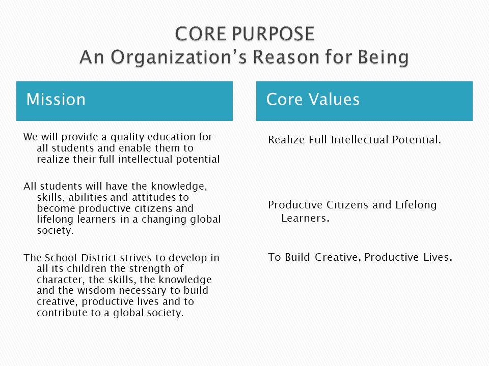 Mission Core Values We will provide a quality education for all students and enable them to realize their full intellectual potential All students will have the knowledge, skills, abilities and attitudes to become productive citizens and lifelong learners in a changing global society.