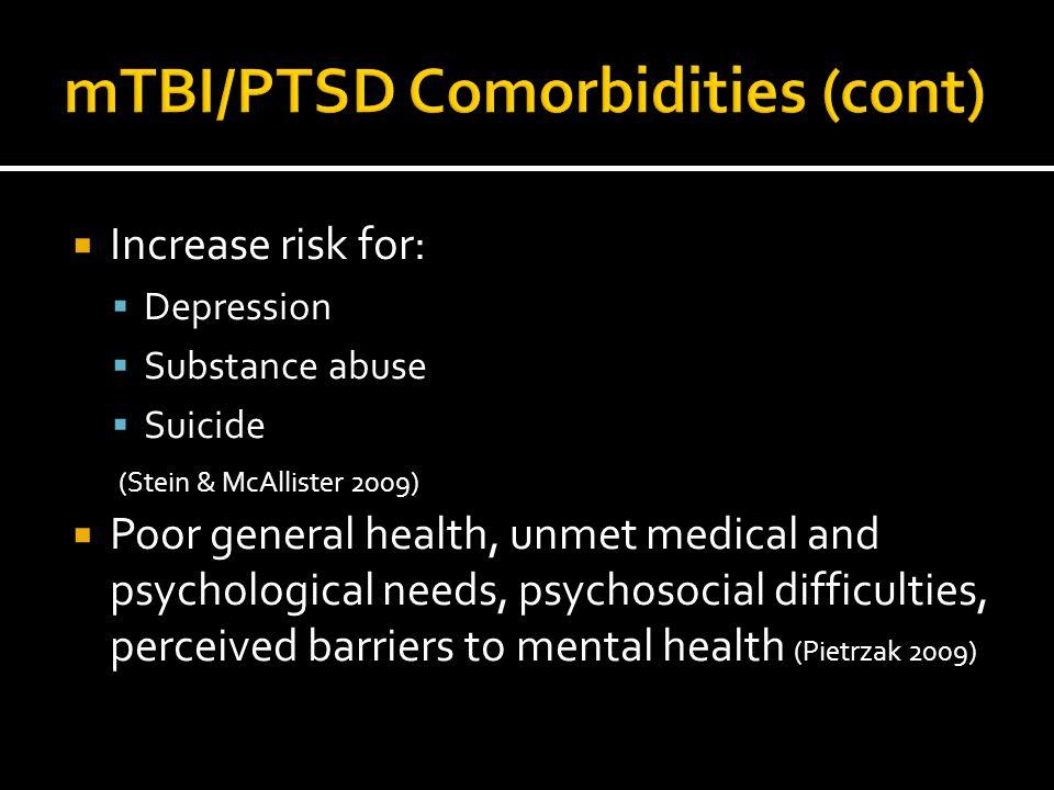  Increase risk for:  Depression  Substance abuse  Suicide (Stein & McAllister 2009)  Poor general health, unmet medical and psychological needs,