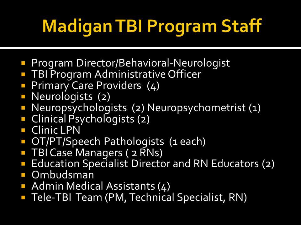  Program Director/Behavioral-Neurologist  TBI Program Administrative Officer  Primary Care Providers (4)  Neurologists (2)  Neuropsychologists (2