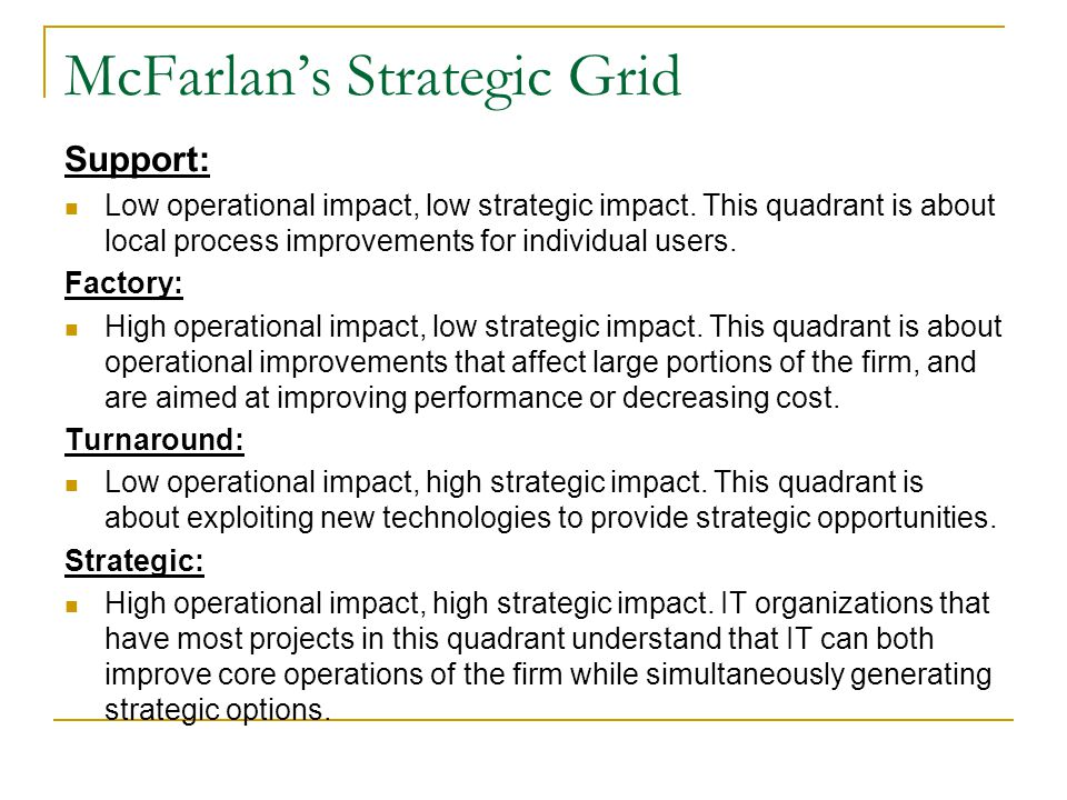 McFarlan's Strategic Grid Support: Low operational impact, low strategic impact. This quadrant is about local process improvements for individual user