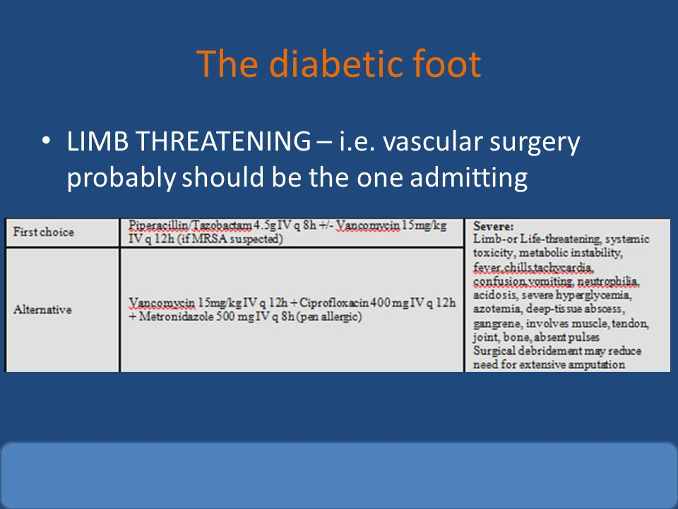The diabetic foot LIMB THREATENING – i.e. vascular surgery probably should be the one admitting