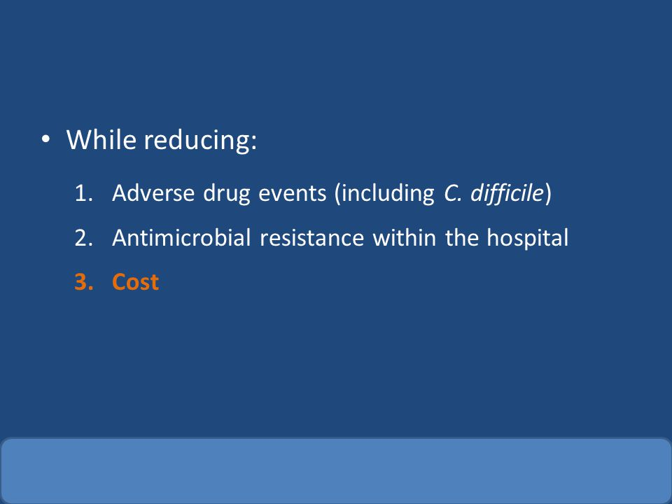 IV -> PO Many antibiotics are highly available PO (FQ, metronidazole, TMP/SMX) Many infections do not require parenteral antibiotics to achieve cure Change to PO, when appropriate, can reduce: – Need for IV access and associated complications – Length of stay – Cost