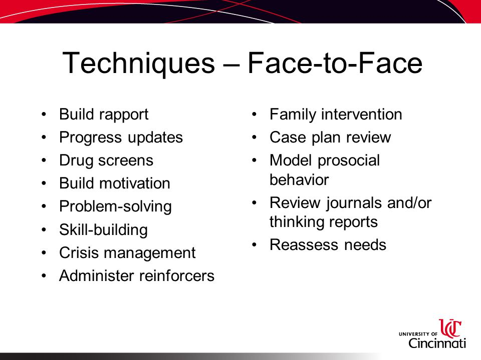 Techniques – Face-to-Face Build rapport Progress updates Drug screens Build motivation Problem-solving Skill-building Crisis management Administer reinforcers Family intervention Case plan review Model prosocial behavior Review journals and/or thinking reports Reassess needs
