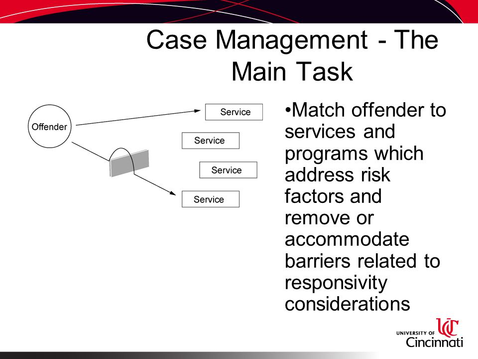Case Management - The Main Task Match offender to services and programs which address risk factors and remove or accommodate barriers related to responsivity considerations