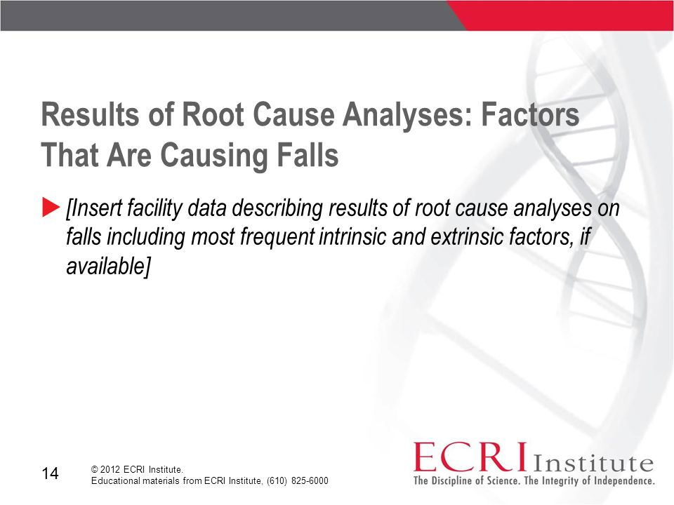14 © 2012 ECRI Institute. Educational materials from ECRI Institute, (610) 825-6000 Results of Root Cause Analyses: Factors That Are Causing Falls  [