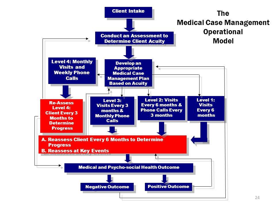 The Medical Case Management Operational Model Client Intake Conduct an Assessment to Determine Client Acuity Develop an Appropriate Medical Case Management Plan Based on Acuity Develop an Appropriate Medical Case Management Plan Based on Acuity Level 4: Monthly Visits and Weekly Phone Calls Re-Assess Level 4: Client Every 3 Months to Determine Progress Re-Assess Level 4: Client Every 3 Months to Determine Progress Level 3: Visits Every 3 months & Monthly Phone Calls Level 3: Visits Every 3 months & Monthly Phone Calls Level 2: Visits Every 6 months & Phone Calls Every 3 months Level 1: Visits Every 6 months Level 1: Visits Every 6 months A.