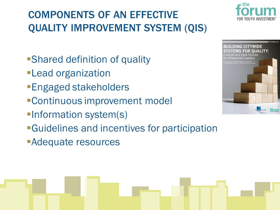 COMPONENTS OF AN EFFECTIVE QUALITY IMPROVEMENT SYSTEM (QIS)  Shared definition of quality  Lead organization  Engaged stakeholders  Continuous improvement model  Information system(s)  Guidelines and incentives for participation  Adequate resources