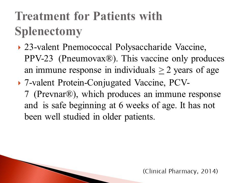  23-valent Pnemococcal Polysaccharide Vaccine, PPV-23 (Pneumovax®).