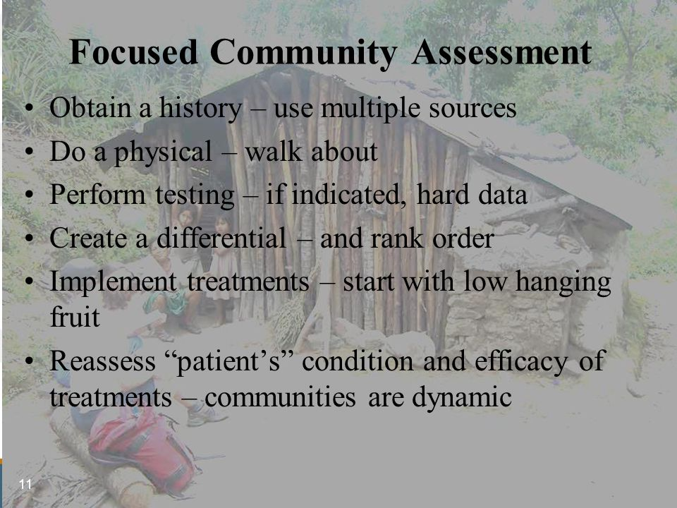 Focused Community Assessment Obtain a history – use multiple sources Do a physical – walk about Perform testing – if indicated, hard data Create a differential – and rank order Implement treatments – start with low hanging fruit Reassess patient's condition and efficacy of treatments – communities are dynamic 11