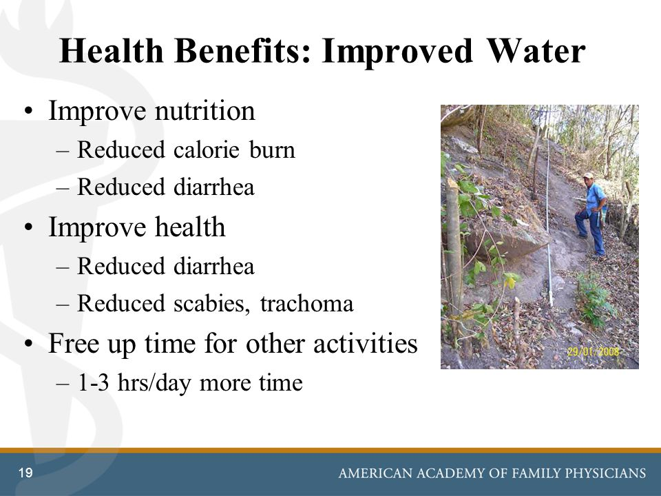 Health Benefits: Improved Water Improve nutrition –Reduced calorie burn –Reduced diarrhea Improve health –Reduced diarrhea –Reduced scabies, trachoma Free up time for other activities –1-3 hrs/day more time 19