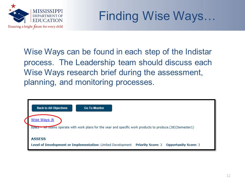 Finding Wise Ways… Wise Ways can be found in each step of the Indistar process.