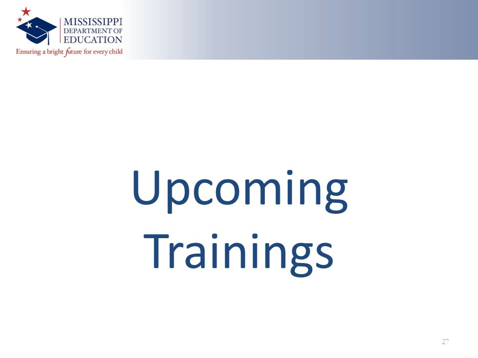 Upcoming Trainings 27