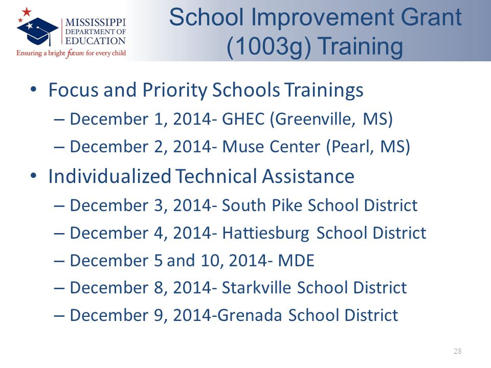 School Improvement Grant (1003g) Training Focus and Priority Schools Trainings – December 1, 2014- GHEC (Greenville, MS) – December 2, 2014- Muse Center (Pearl, MS) Individualized Technical Assistance – December 3, 2014- South Pike School District – December 4, 2014- Hattiesburg School District – December 5 and 10, 2014- MDE – December 8, 2014- Starkville School District – December 9, 2014-Grenada School District 28