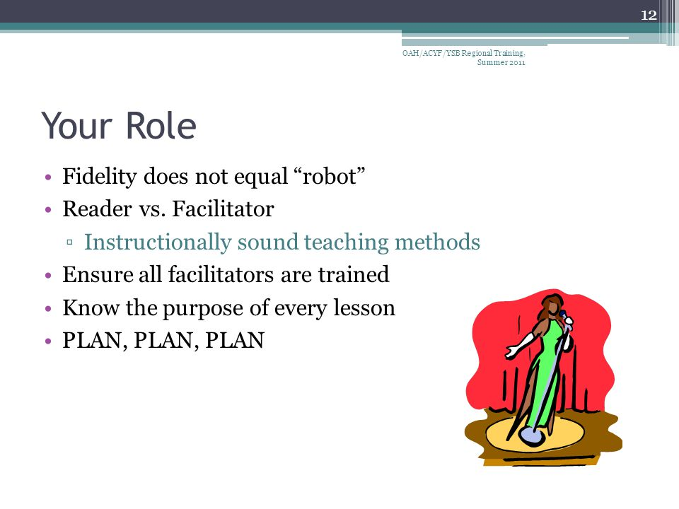 Your Role Fidelity does not equal robot Reader vs.