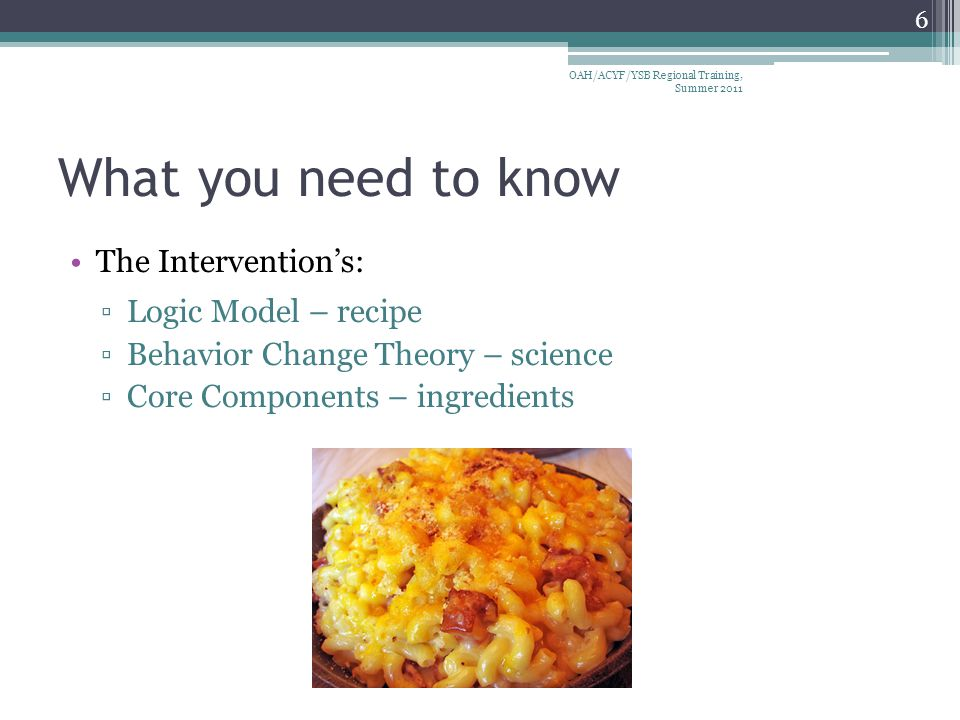 What you need to know The Intervention's: ▫Logic Model – recipe ▫Behavior Change Theory – science ▫Core Components – ingredients 6 OAH/ACYF/YSB Regional Training, Summer 2011
