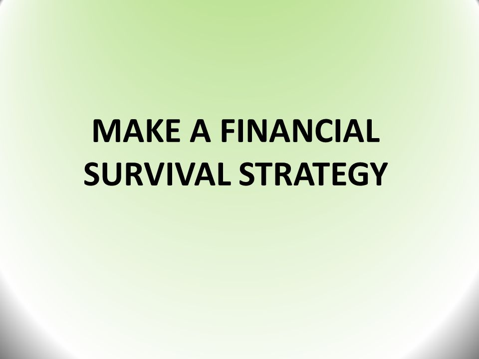 MAKE A FINANCIAL SURVIVAL STRATEGY