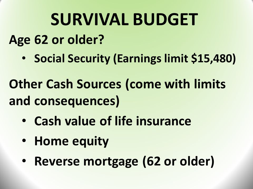 SURVIVAL BUDGET Age 62 or older.
