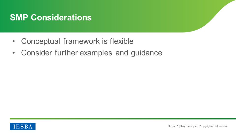 Page 18 | Proprietary and Copyrighted Information Conceptual framework is flexible Consider further examples and guidance SMP Considerations