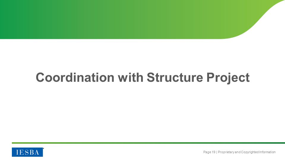 Page 19 | Proprietary and Copyrighted Information Coordination with Structure Project