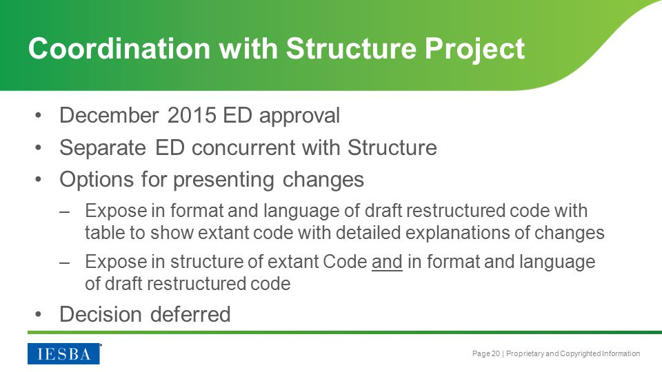 Page 20 | Proprietary and Copyrighted Information December 2015 ED approval Separate ED concurrent with Structure Options for presenting changes –Expo