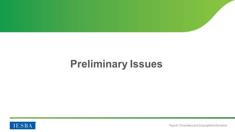 Page 5 | Proprietary and Copyrighted Information Preliminary Issues