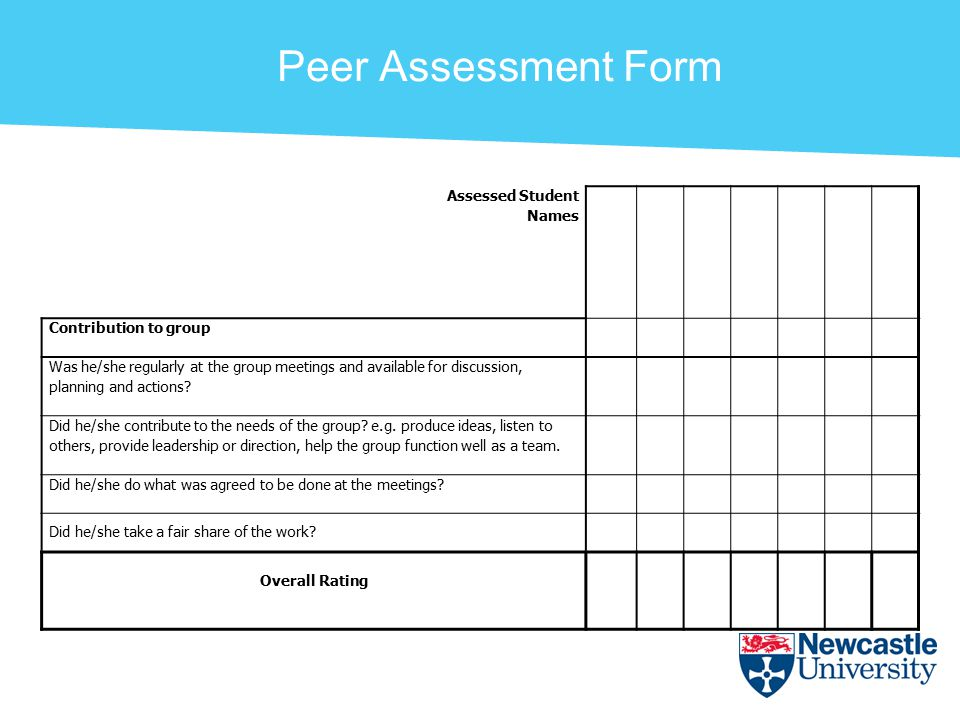Peer Assessment Form Assessed Student Names Contribution to group Was he/she regularly at the group meetings and available for discussion, planning and actions.