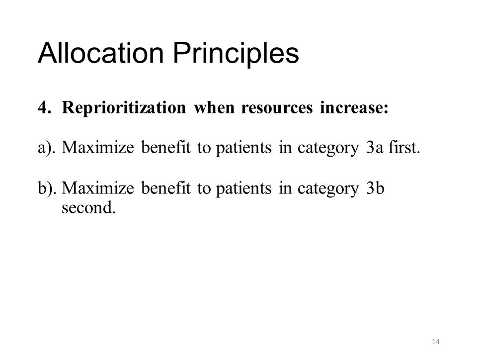 Allocation Principles 4.Reprioritization when resources increase: a).Maximize benefit to patients in category 3a first. b).Maximize benefit to patient