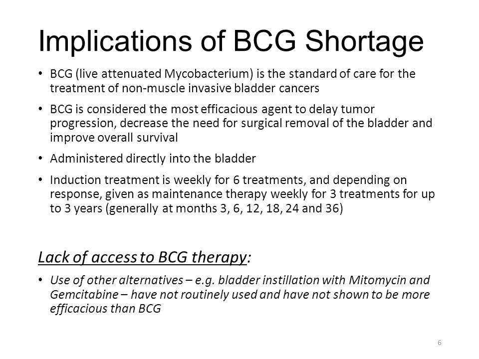 Implications of BCG Shortage BCG (live attenuated Mycobacterium) is the standard of care for the treatment of non-muscle invasive bladder cancers BCG