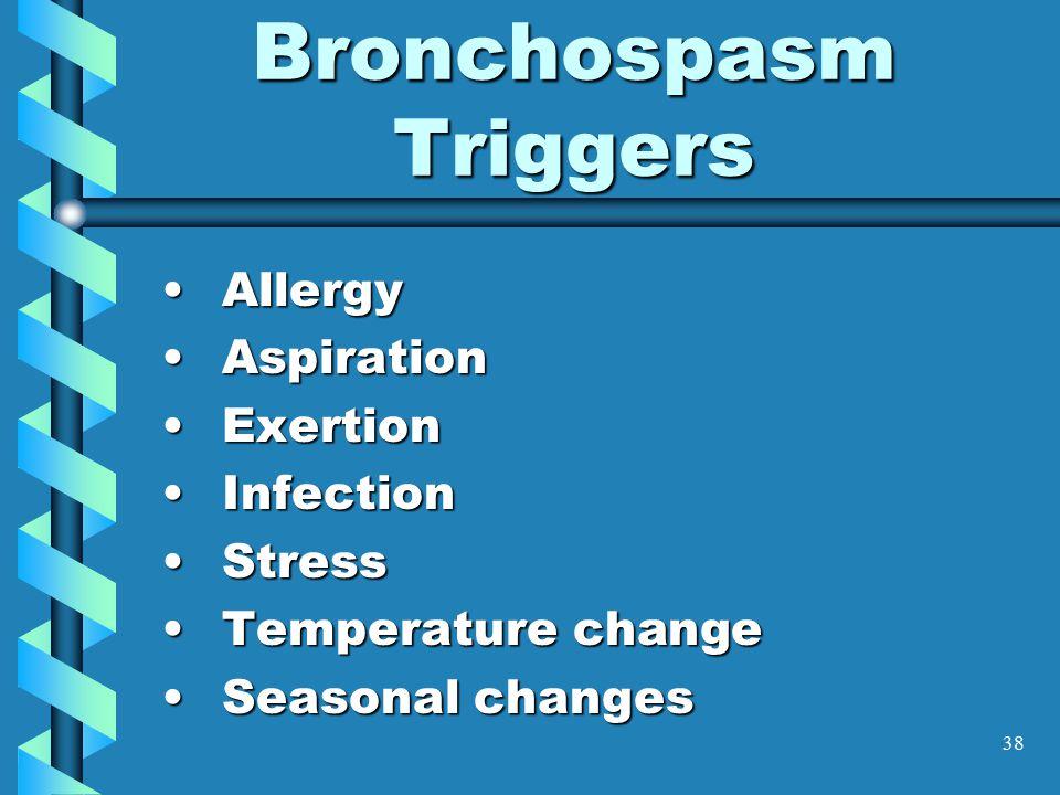 38 Bronchospasm Triggers AllergyAllergy AspirationAspiration ExertionExertion InfectionInfection StressStress Temperature changeTemperature change Seasonal changesSeasonal changes