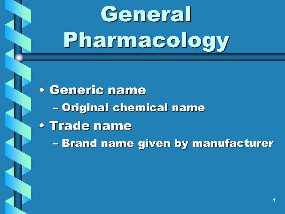 4 General Pharmacology Generic nameGeneric name –Original chemical name Trade nameTrade name –Brand name given by manufacturer