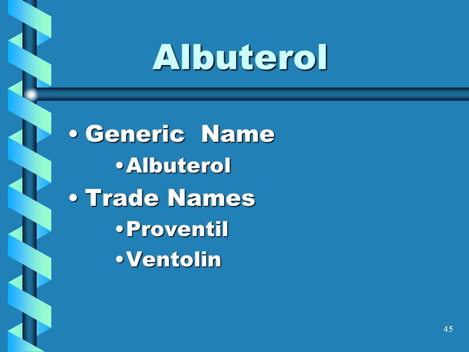 45 Albuterol Generic NameGeneric Name AlbuterolAlbuterol Trade NamesTrade Names ProventilProventil VentolinVentolin