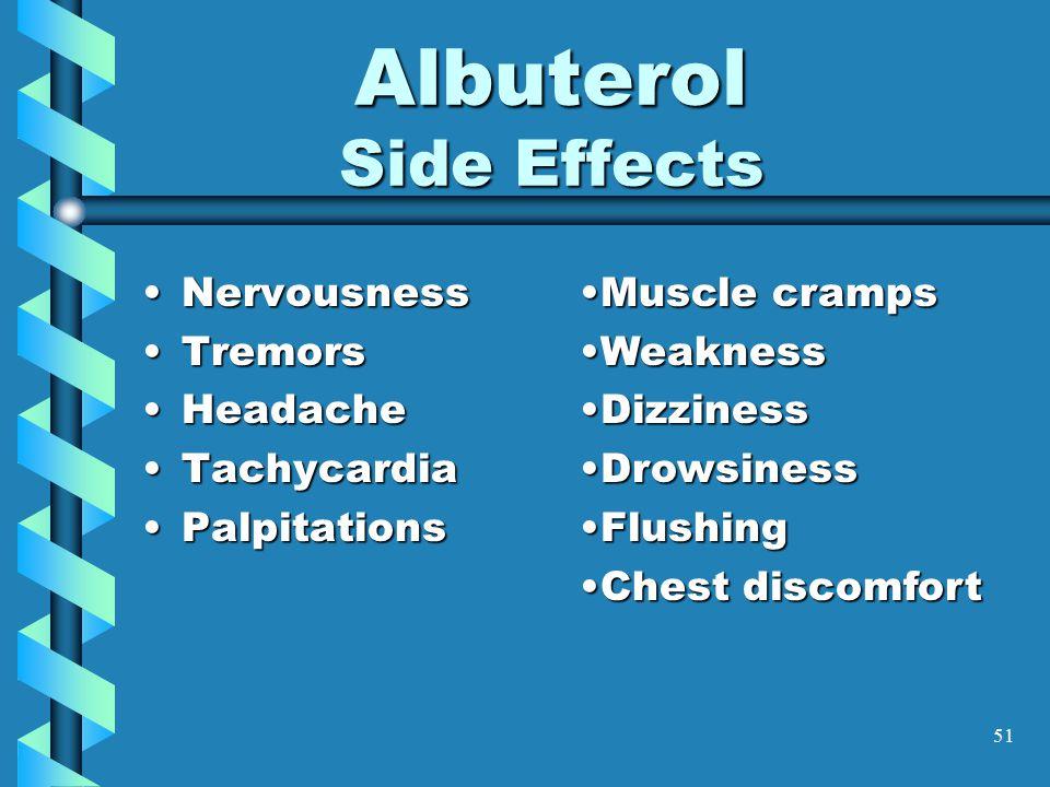 51 Albuterol Side Effects NervousnessNervousness TremorsTremors HeadacheHeadache TachycardiaTachycardia PalpitationsPalpitations Muscle crampsMuscle c
