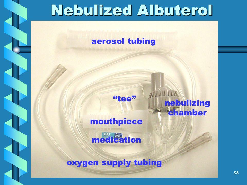"58 Nebulized Albuterol aerosol tubing mouthpiece ""tee"" nebulizing chamber oxygen supply tubing medication"