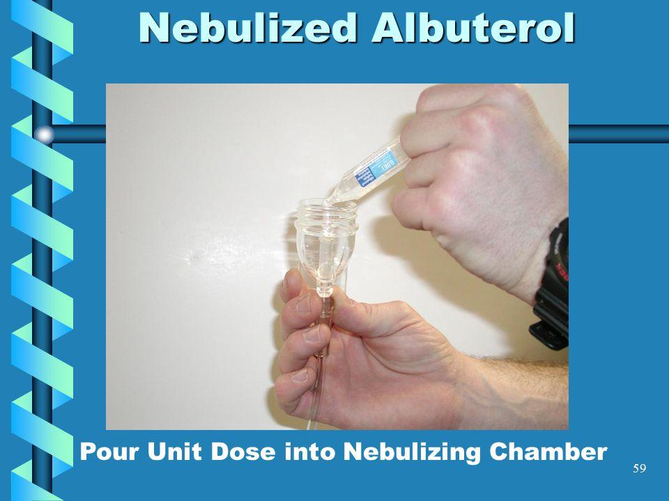 59 Nebulized Albuterol Pour Unit Dose into Nebulizing Chamber