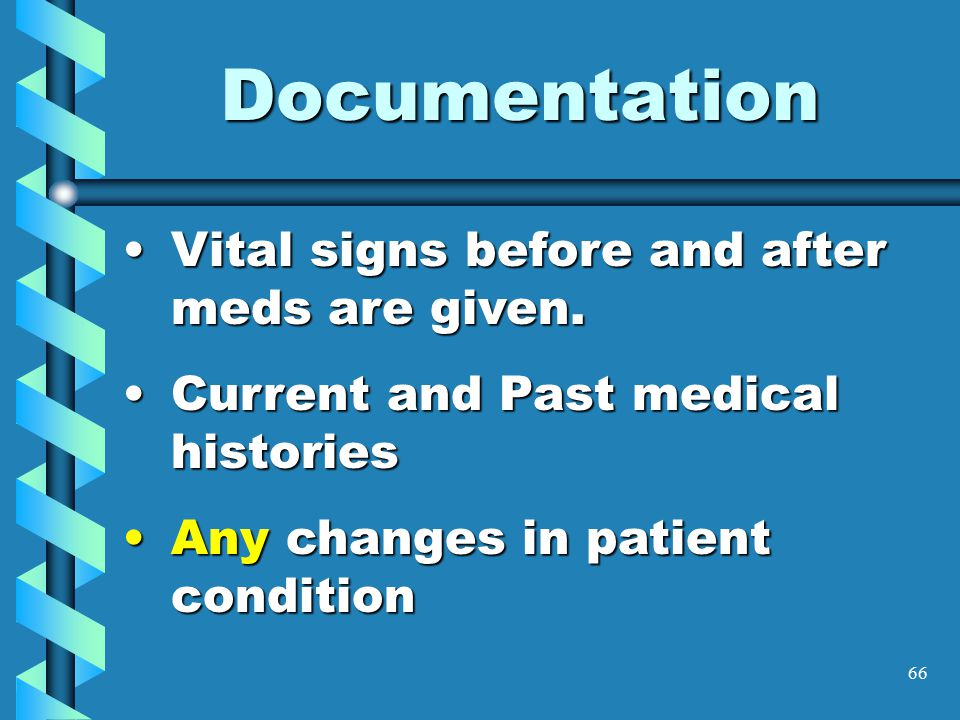 66 Documentation Vital signs before and after meds are given.Vital signs before and after meds are given. Current and Past medical historiesCurrent an